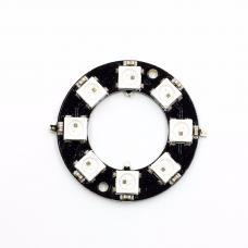 8 RGB šviesos diodų žiedas su WS2812B valdikliu
